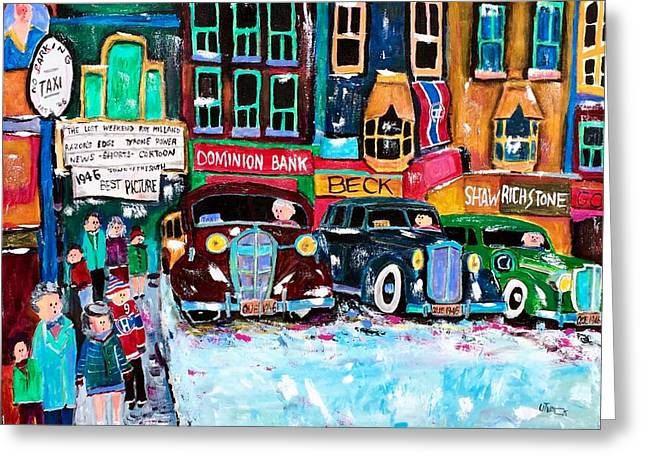 Montreal  Downtown Winter Traffic 1946  Greeting Card by Michael Litvack