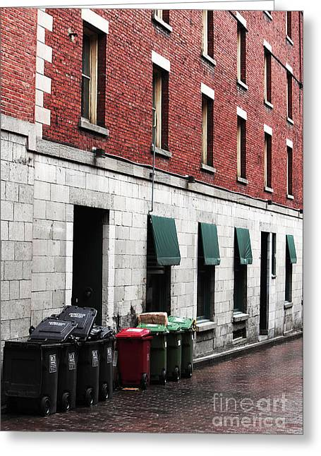 Old Montreal Greeting Cards - Montreal Garbage Cans Greeting Card by John Rizzuto