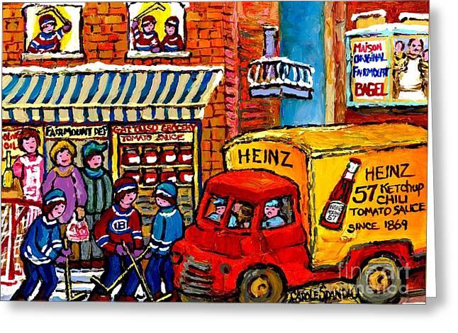 Montreal Gattuso Grocer Rue Fairmount Street Hockey Game Heinz Ketchup Delivery Truck Carole Spandau Greeting Card by Carole Spandau