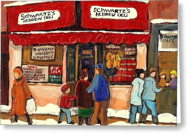 MONTREAL HEBREW DELICATESSEN SCHWARTZS BY MONTREAL STREETSCENE ARTIST CAROLE SPANDAU Greeting Card by CAROLE SPANDAU