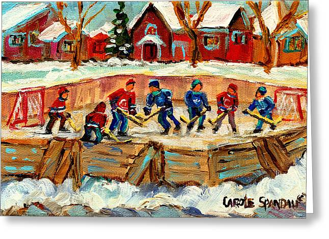 Montreal Winterscenes Greeting Cards - Montreal Hockey Rinks Urban Scene Greeting Card by Carole Spandau