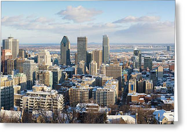 Montreal Urban Landscapes Greeting Cards - Montreal in winter panorama Greeting Card by Jane Rix