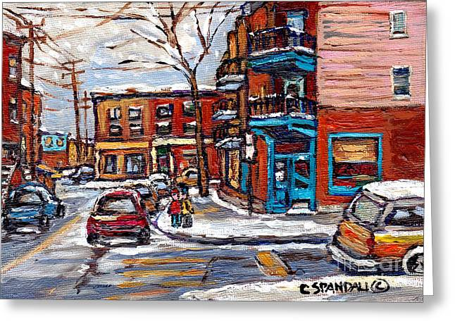 Montreal Eateries Greeting Cards - Montreal Memories Painting Rue Fairmount And Clark Wilensky Winter Scene Best Canadian Original Art  Greeting Card by Carole Spandau