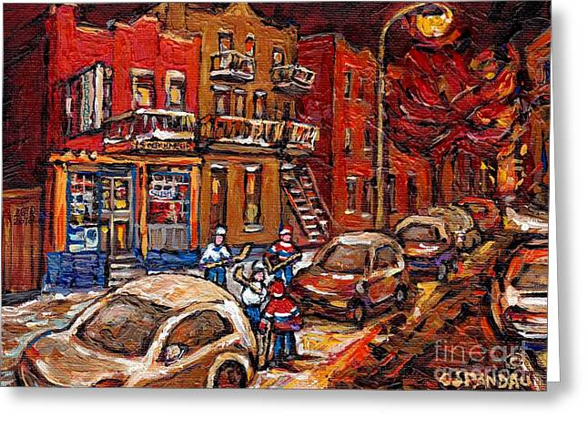 Hockey Paintings Greeting Cards - Montreal Night Scene Painting Hockey Game On Rue Centre At The Depanneur Pointe St Charles Winter  Greeting Card by Carole Spandau