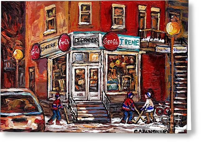 Hockey Paintings Greeting Cards - Montreal Night Scene Street Hockey Painting Depanneur J Rene Rue Villeneuve And Grand Pre Best Art Greeting Card by Carole Spandau