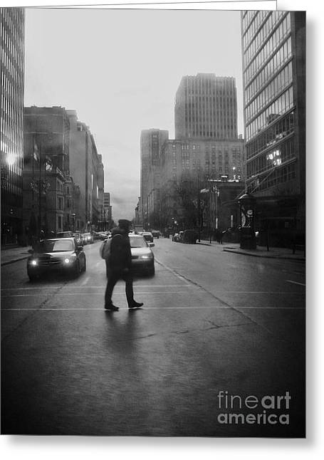 Streets Of Montreal Greeting Cards - Montreal on a Rainy Day Greeting Card by Reb Frost