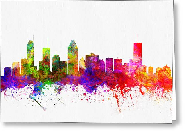 Down Town Greeting Cards - Montreal Quebec skyline color02 Greeting Card by Aged Pixel