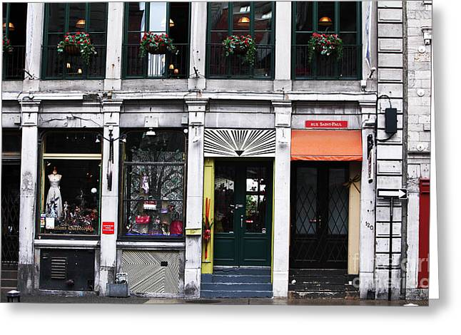 Quebec Province Greeting Cards - Montreal Shops Greeting Card by John Rizzuto