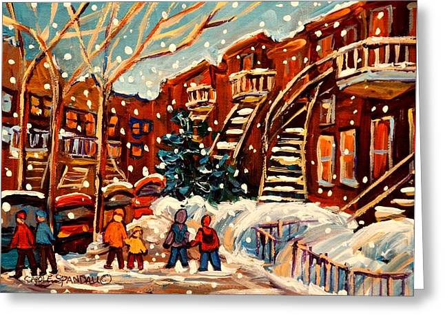 The Plateaus Paintings Greeting Cards - Montreal Street In Winter Greeting Card by Carole Spandau