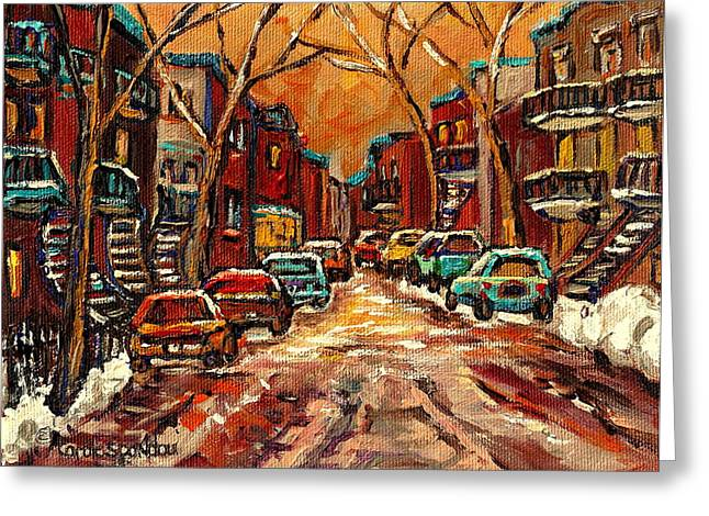 Montreal Citystreets Greeting Cards - Montreal Streets In Winter Greeting Card by Carole Spandau