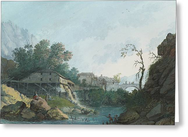 Swiss Paintings Greeting Cards - Montreux Muhle und Brucke Greeting Card by Louis Albert Guislain Bacler d