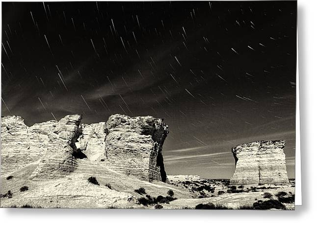 Pyramids Greeting Cards - Monument Rocks Moonlight - Black-and-White Greeting Card by Bill Kesler