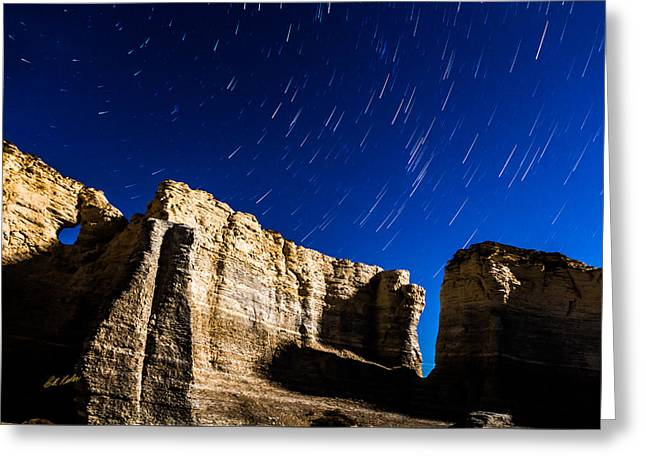 Pyramids Greeting Cards - Monument Rocks Star Trails Greeting Card by Bill Kesler