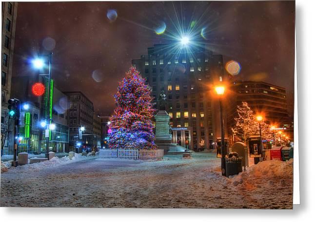 Monument Square - Portland Maine Greeting Card by Joann Vitali