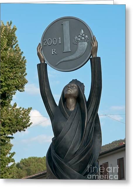 Xxi Art Greeting Cards - Monument to Italian Lira Greeting Card by Fabrizio Ruggeri