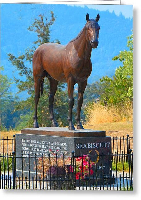 Ridgewood Greeting Cards - Monument to Seabiscuit Greeting Card by Josephine Buschman
