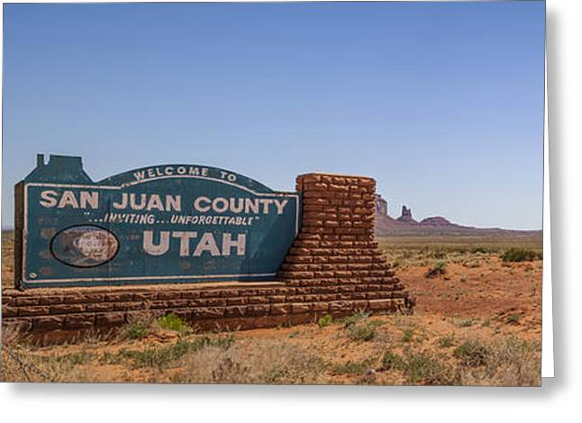 Geologic Greeting Cards - MONUMENT VALLEY and Utah Sign Greeting Card by Melanie Viola