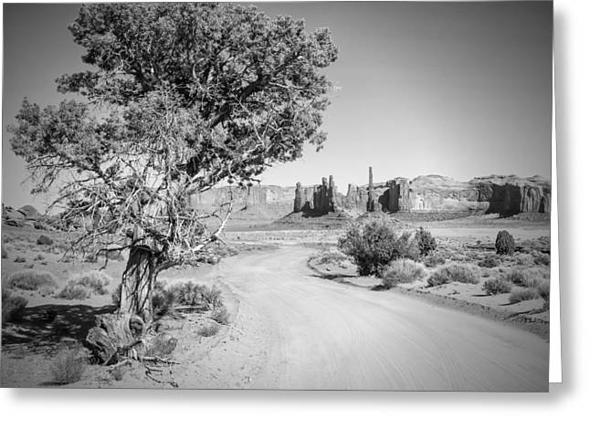 Scenic Drive Greeting Cards - Monument Valley Drive and Totem Pole black and white Greeting Card by Melanie Viola