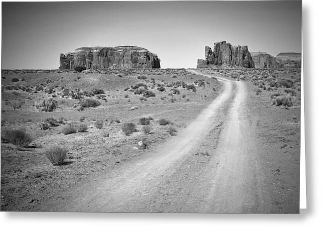 Scenic Drive Greeting Cards - Monument Valley Drive black and white Greeting Card by Melanie Viola