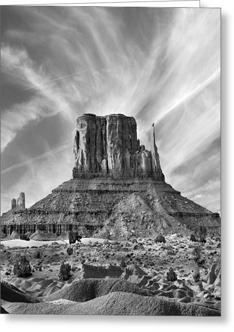 White Mittens Greeting Cards - Monument Valley - Left Mitten 2bw Greeting Card by Mike McGlothlen