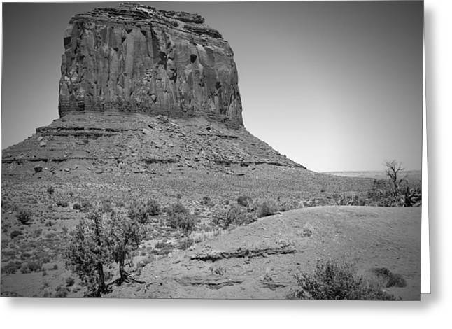 Geologic Greeting Cards - MONUMENT VALLEY Merrick Butte black and white Greeting Card by Melanie Viola