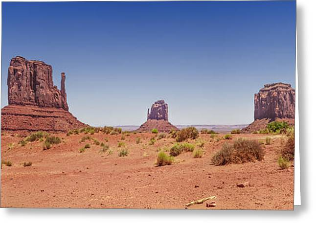 Stone Sentinel Greeting Cards - Monument Valley Panoramic Landscape Greeting Card by Melanie Viola
