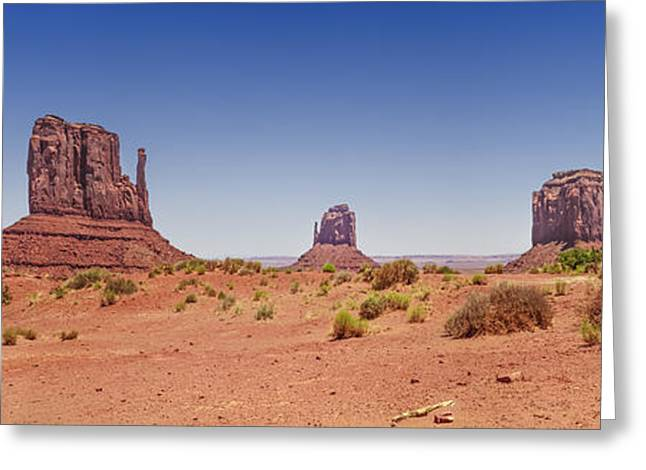 Geologic Greeting Cards - Monument Valley Panoramic Landscape Greeting Card by Melanie Viola