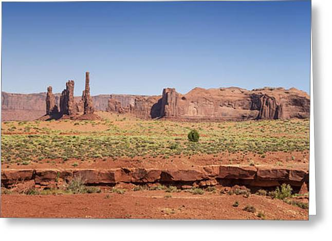 Layers Greeting Cards - Monument Valley Panoramic Scenery Greeting Card by Melanie Viola