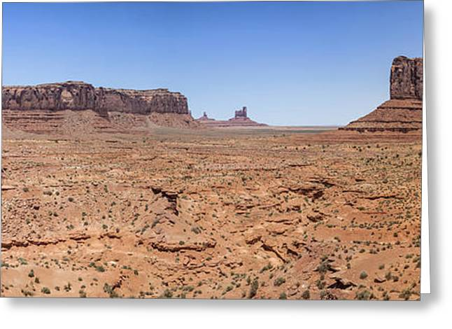 Stone Sentinel Greeting Cards - Monument Valley Panoramic Valley View Greeting Card by Melanie Viola