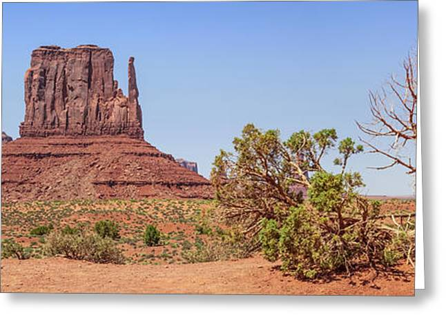 Stone Sentinel Greeting Cards - Monument Valley Panoramic View Greeting Card by Melanie Viola
