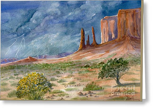 Arizona Lightning Paintings Greeting Cards - Monument Valley Raging Storm Greeting Card by Marilyn Smith