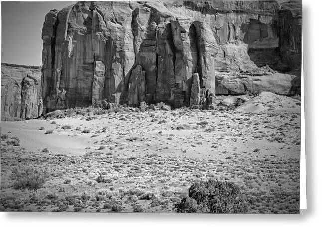 Geologic Greeting Cards - MONUMENT VALLEY Rock Formations black and white Greeting Card by Melanie Viola
