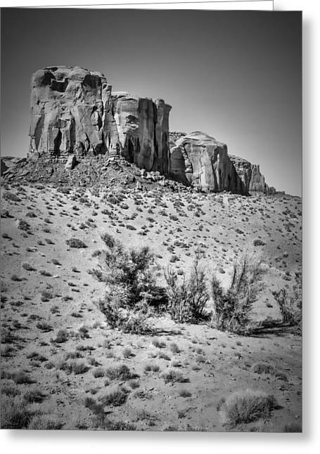 Geologic Greeting Cards - MONUMENT VALLEY Rock Formations II black and white Greeting Card by Melanie Viola