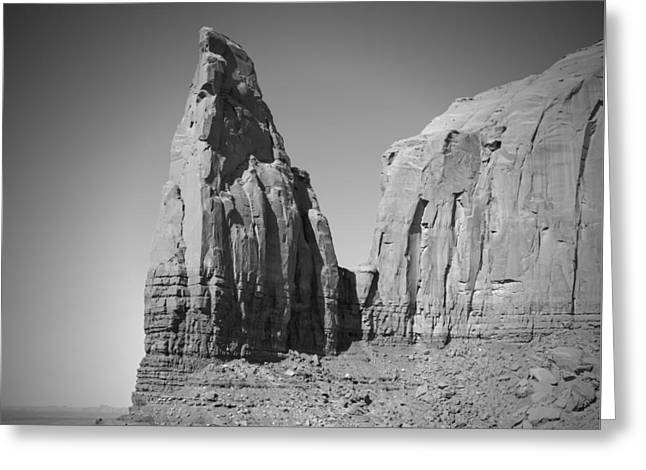 Black Mesa Greeting Cards - MONUMENT VALLEY Spearhead Mesa black and white Greeting Card by Melanie Viola