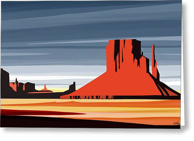 Monument Valley Sunset Digital Realism Greeting Card by Sassan Filsoof