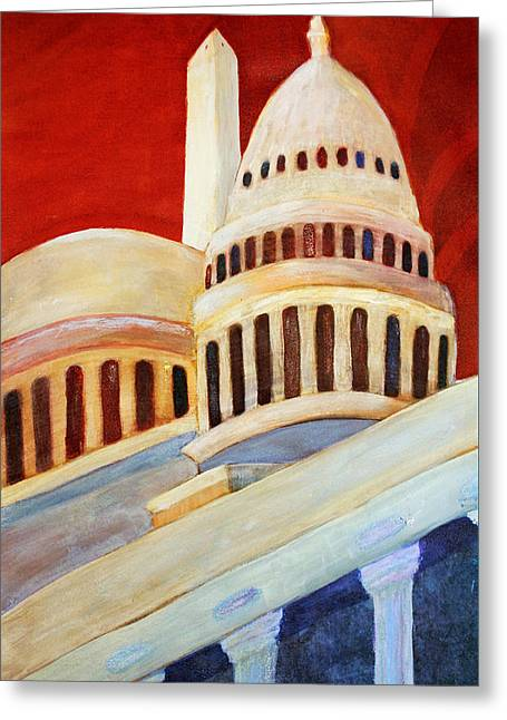 Lincoln Memorial Mixed Media Greeting Cards - Monumental Abstraction Greeting Card by Kay Fuller