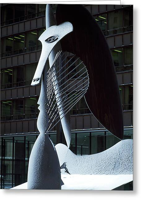 Daley Plaza Greeting Cards - Monumental Sculpture In Front Greeting Card by Panoramic Images