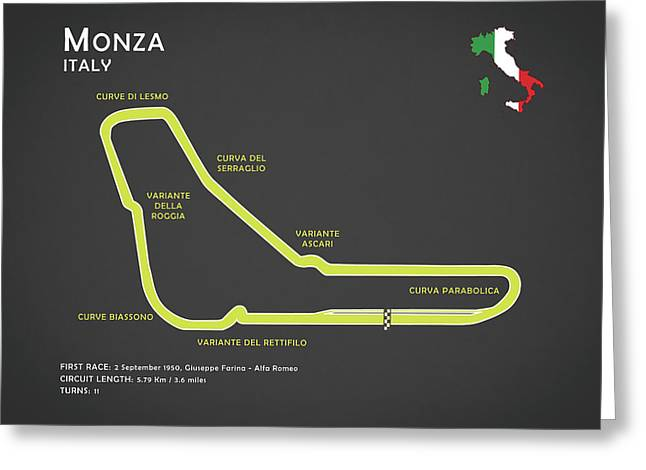 Monza Greeting Card by Mark Rogan