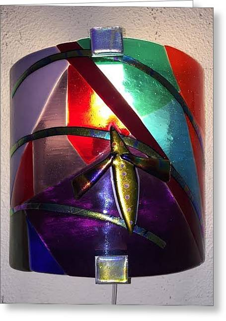 Mood Glass Greeting Cards - Mood Light Sconce Multi Greeting Card by Marilyn Catlow