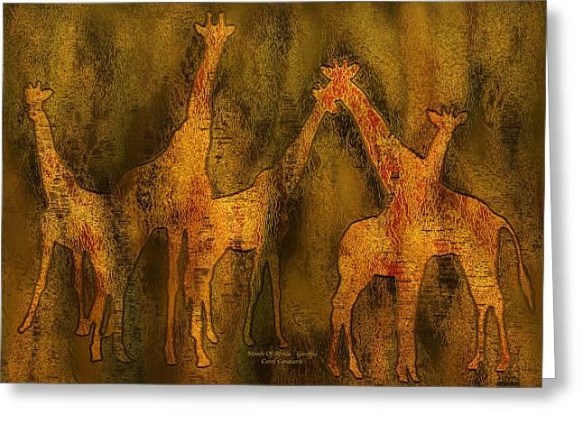Giraffe Abstract Greeting Cards - Moods Of Africa - Giraffes Greeting Card by Carol Cavalaris