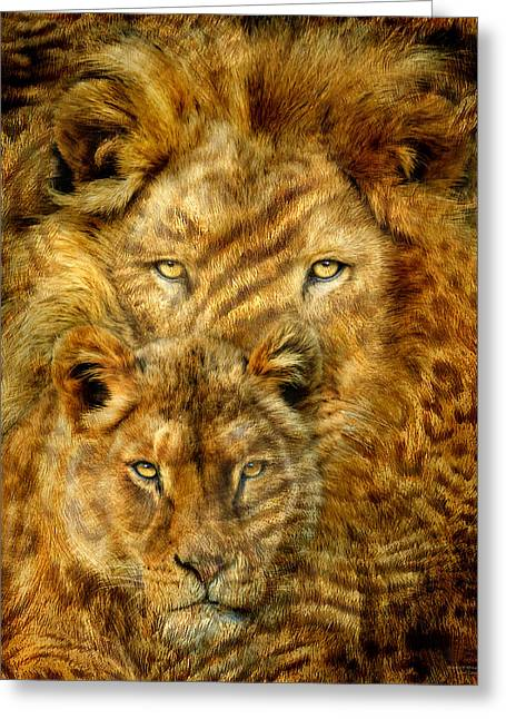 Mood Art Print Greeting Cards - Moods Of Africa - Lions 2 Greeting Card by Carol Cavalaris