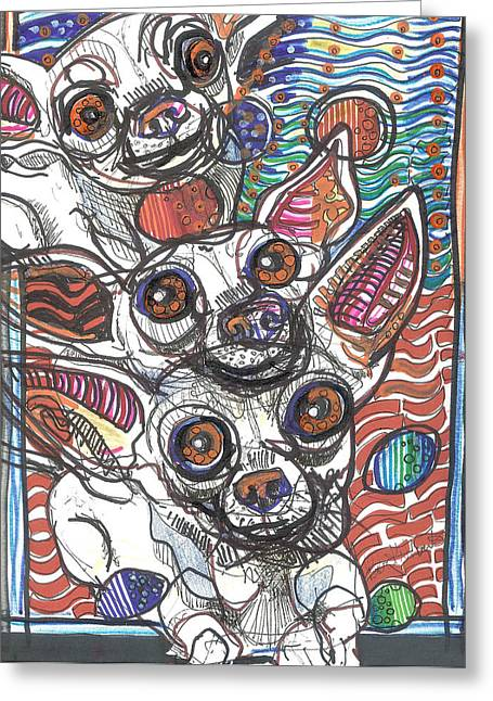 Chihuahua Abstract Art Greeting Cards - Moodswings Greeting Card by Robert Wolverton Jr