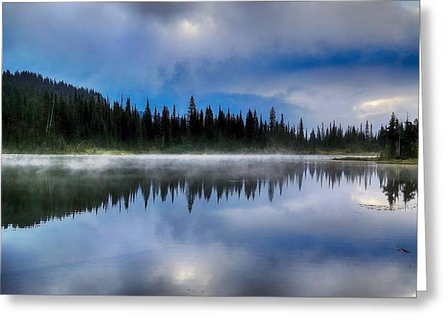 Blue Green Water Greeting Cards - Moody and cloudy Greeting Card by Lynn Hopwood
