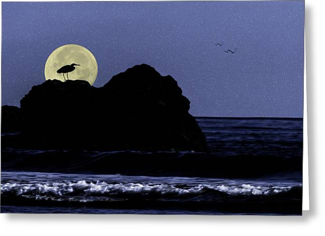 Diane Schuster Greeting Cards - Moody Blues Heron Silhouette Greeting Card by Diane Schuster