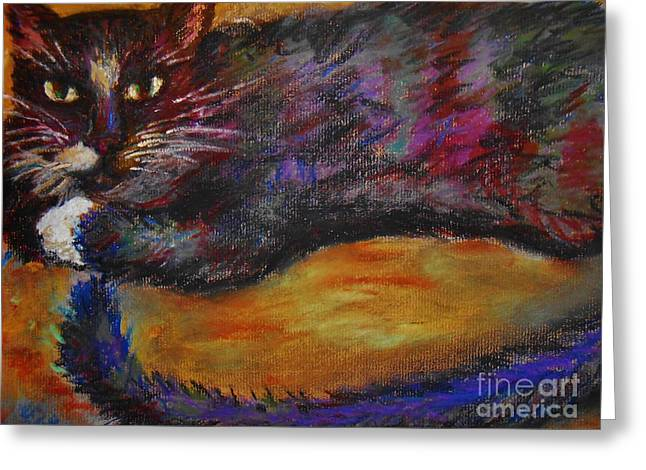 Moody Pastels Greeting Cards - Moody Cat Greeting Card by Emily Michaud