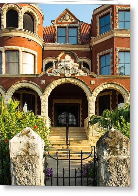 Historic Home Greeting Cards - Moody Mansion Main Entrance Greeting Card by Roger Reeves  and Terrie Heslop