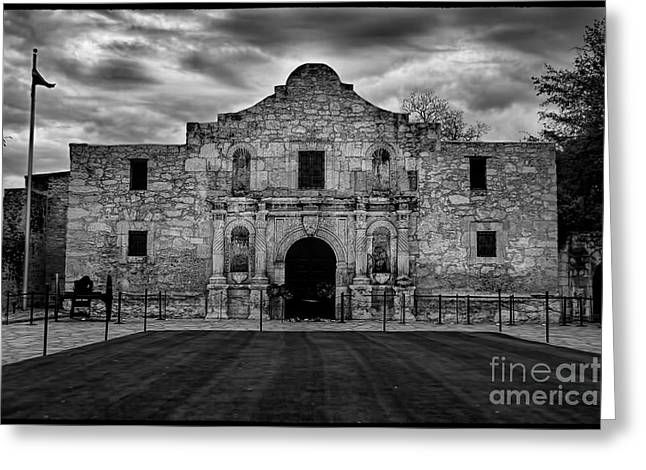 Moody Morning At The Alamo Bw Greeting Card by Jemmy Archer