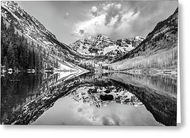 Moody Skies Over The Maroon Bells Greeting Card by Gregory Ballos