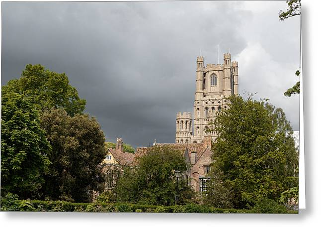Wooden Ship Greeting Cards - Moody sky over Ely. Greeting Card by Katey jane Andrews