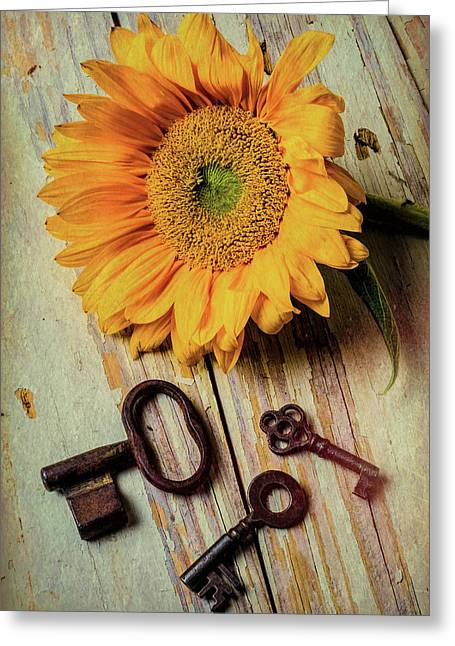 Moody Sunflower With Keys Greeting Card by Garry Gay